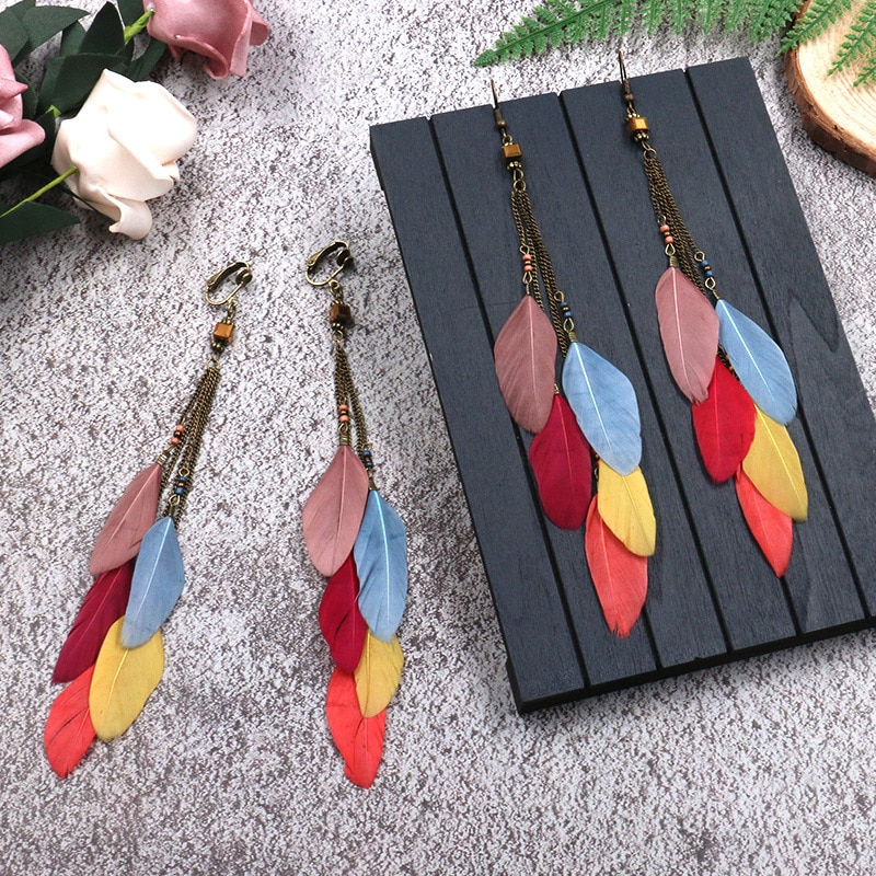 2019 Golden Silver Color Vintage Ethnic Rainbow beads Feather Dangle Drop Earrings for Women Female Boho Jewelry Accessories
