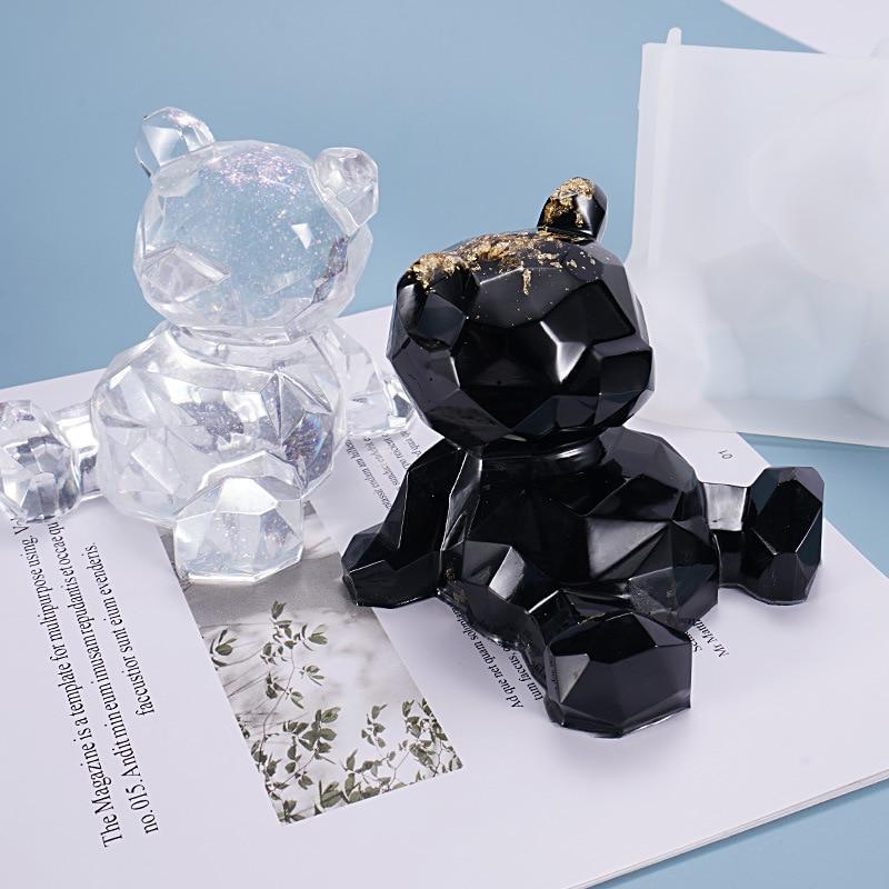 DIY Resina Epóxi Mold Três-dimensional Geometria Decoração Pequeno Dos Desenhos Animados Rilakkuma Urso Móvel Suporte Do Telefone de Silicone Molde