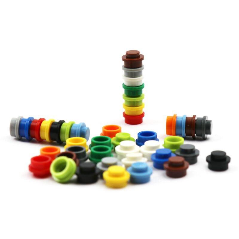 500 piezas, juego de ladrillos de bloques de construcción MOC, placa de accesorios redonda 1x1, piezas de construcción de ciudad, piezas de coche de jardín, ladrillos 4073 6141
