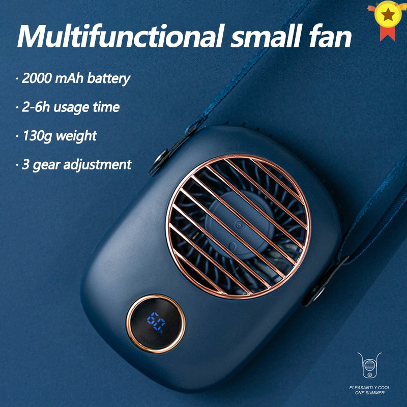 neck fan portable mini usb fans air cooler rechargeable ventilador small travel handheld electric fan silent cooling for outdoor Hanging Neck fan mini cooler USB 2000mAh rechargeable ventilador Outdoor Travel handheld portable silent  cooling fans home