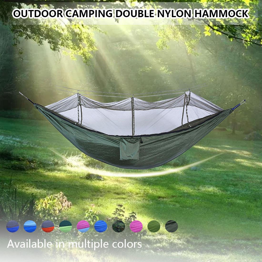 Портативный гамак, подвесная кровать из парашютной ткани, с москитной сеткой, для кемпинга, охоты, сна