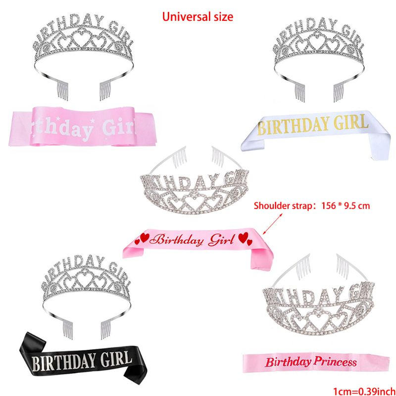 Birthday Girl Sash and Tiara Crown Happy Birthday Party Supplies Favors, Decor E65B