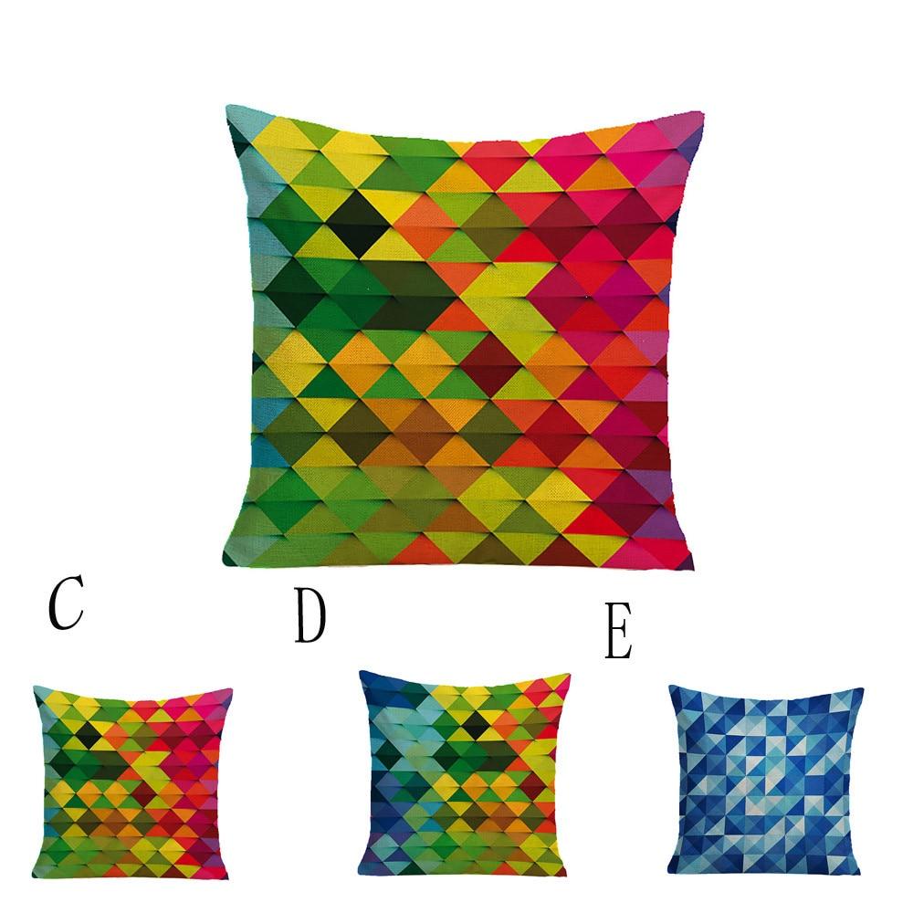 Cuscino Fashion Colored Geometric Pattern Pillow Case Cushion Cover Home Decor Poduszka Dekoracyjna Poduszki Oreillers