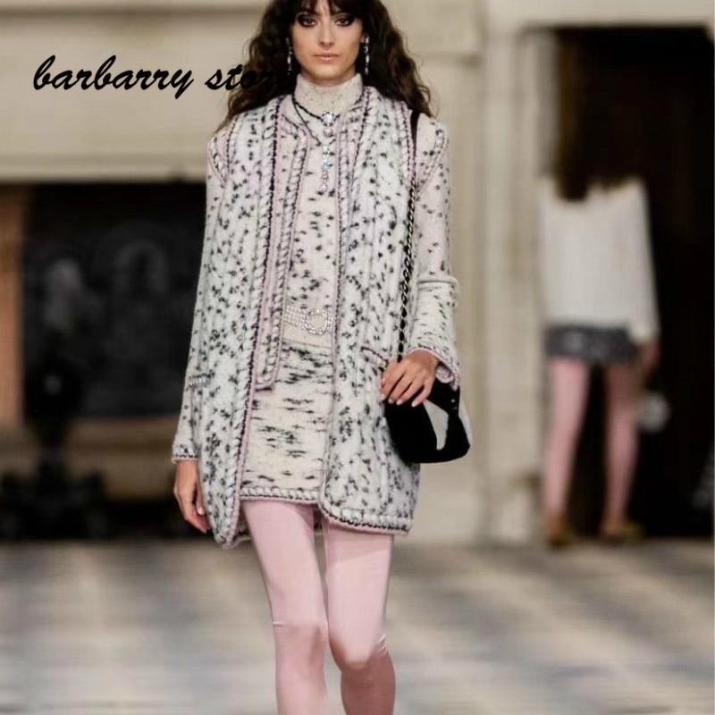 21 luxury brand black spot mixed gold thread women's versatile round neck long sleeve cardigan + vest cardigan + high neck vest