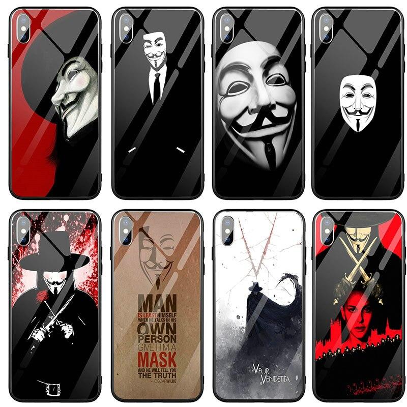 V de Vendetta de Arte de cristal templado de teléfono casos para IPhone 5 5S SE 2020 6 6S 7 7 Plus X XR XS 11 12 Pro Max Coque