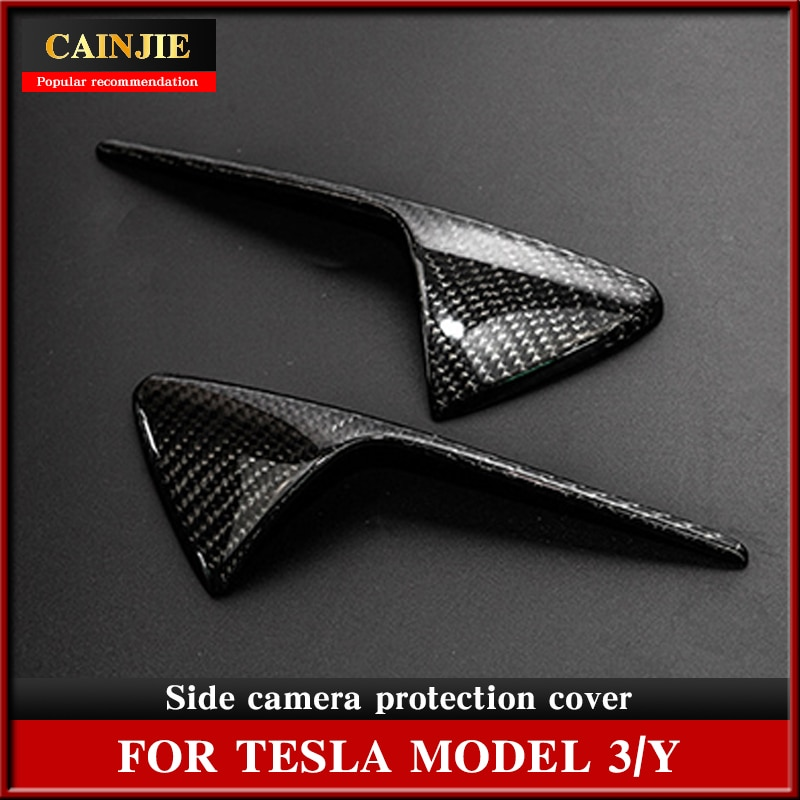 2020 New Side Camera Protective Cover For Tesla Model 3 S X Y Real Red Carbon Fiber Accessories Model3 Three 2Pcs/Set
