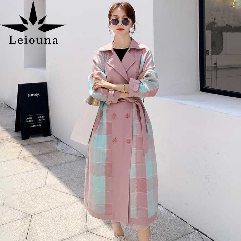Leiona-حزام وردي عصري للنساء ، مجموعة ربيع وخريف جديدة 2021 ، حزام متباين الألوان ، بدلة منقوشة مع طبقات ، معاطف بياقة