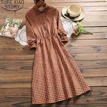 Mode robe à carreaux femmes 2020 printemps col rabattu velours côtelé à manches longues Vintage robes rétro dames bouton robe 7424 50