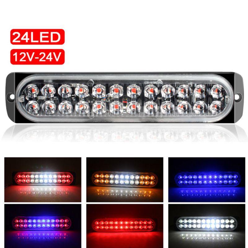 Nueva barra de luces de emergencia de estroboscópica doble hilera de 24LED, barra de luces intermitente de advertencia Universal para camioneta Pickup 12-24V, motocicletas de coche