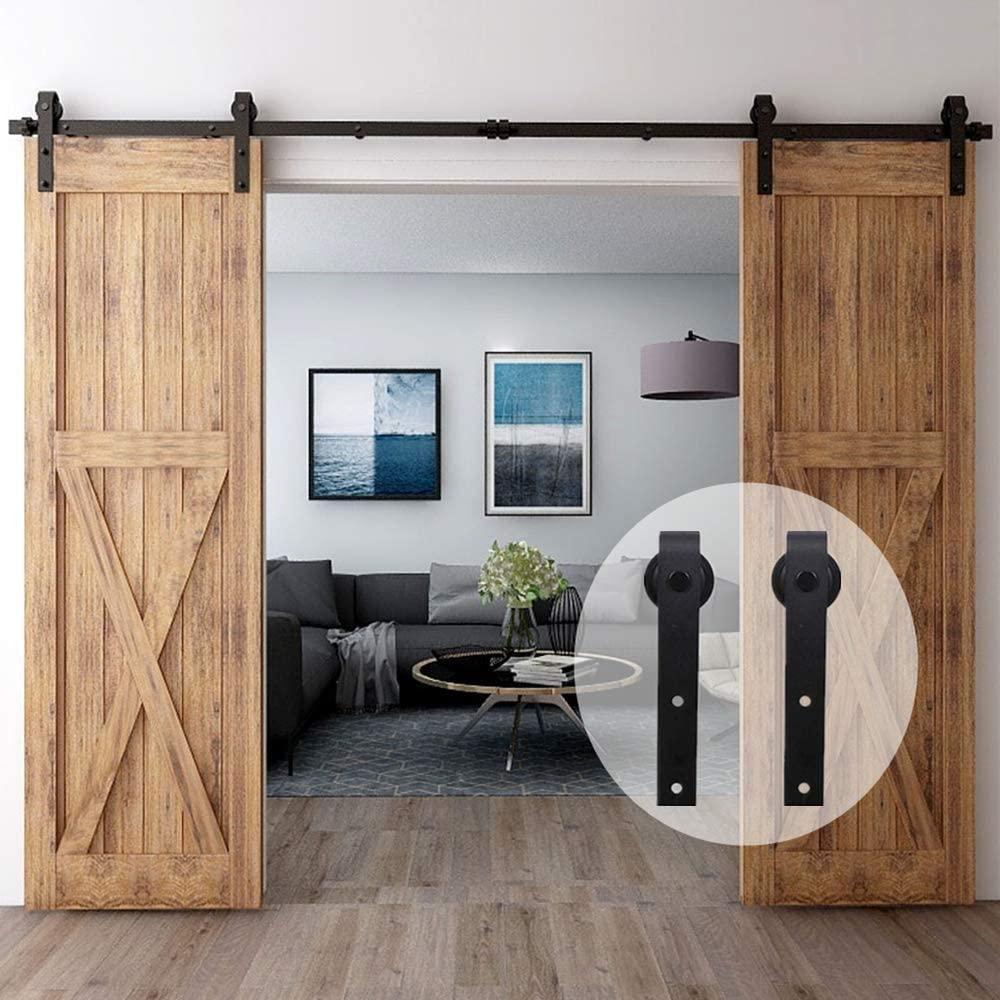 HACCER-مجموعة أدوات باب الحظيرة المنزلقة ، 4-16 قدم ، تعليق أسود على شكل حرف J ، مسار علوي ، باب مزدوج ، قضيب دوار