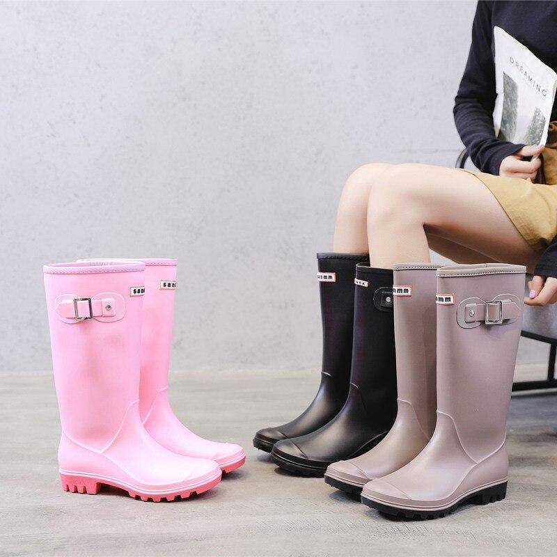 Женские резиновые сапоги до колена YEELOCA, модные высокие водонепроницаемые сапоги с пряжкой, резиновые сапоги из ПВХ