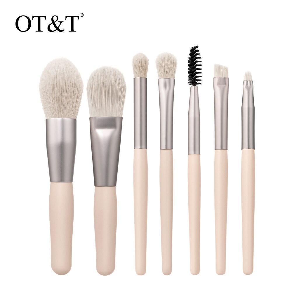 OT&T 7PCS Makeup Brushes Set Professional Natural Synthetic Hair Brushe Foundation Powder Contour Ey