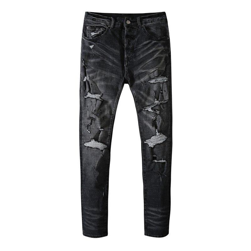 American Famous Brand AMR New Black Gray Ripped Jeans Sweatpants Men Trousers Men's Pants Streetwear Techwear Y2k Men's Clothing