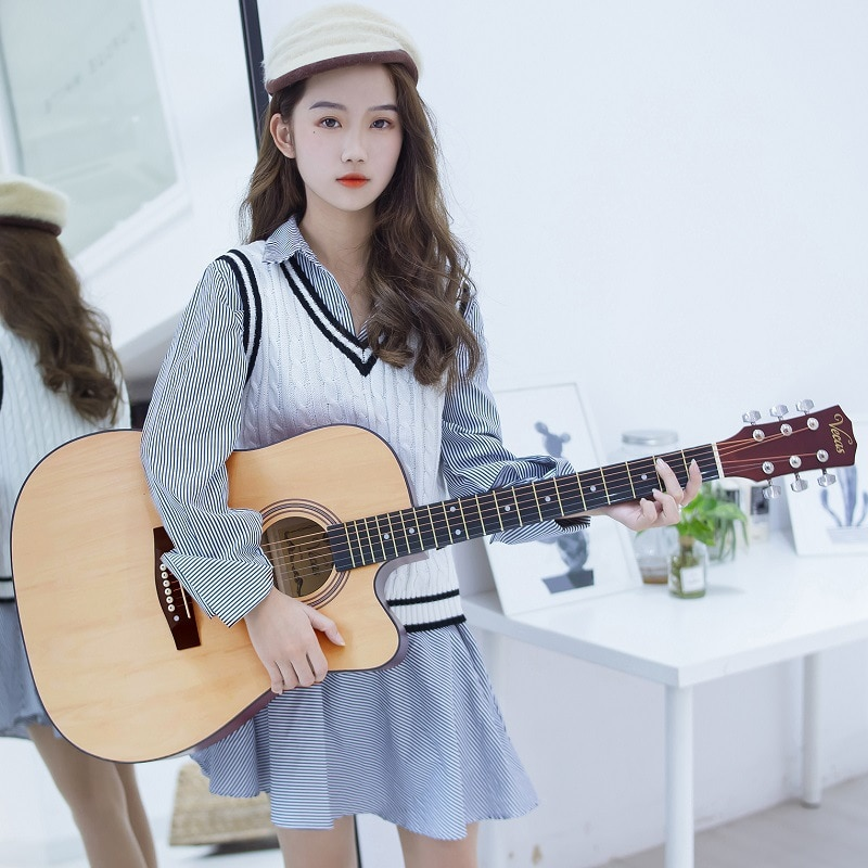 41 Inch Guitar For Adults 6 String One Piece Acoustic Classical Instrument Guitar Vintage Beginner Musicman Violao Music HX50JT