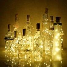 2M 20 LED światła ciąg korek do butelek z winem kształt noc lampa wróżka String Lights Party wakacje DIY dekoracje na boże narodzenie 8 kolorów