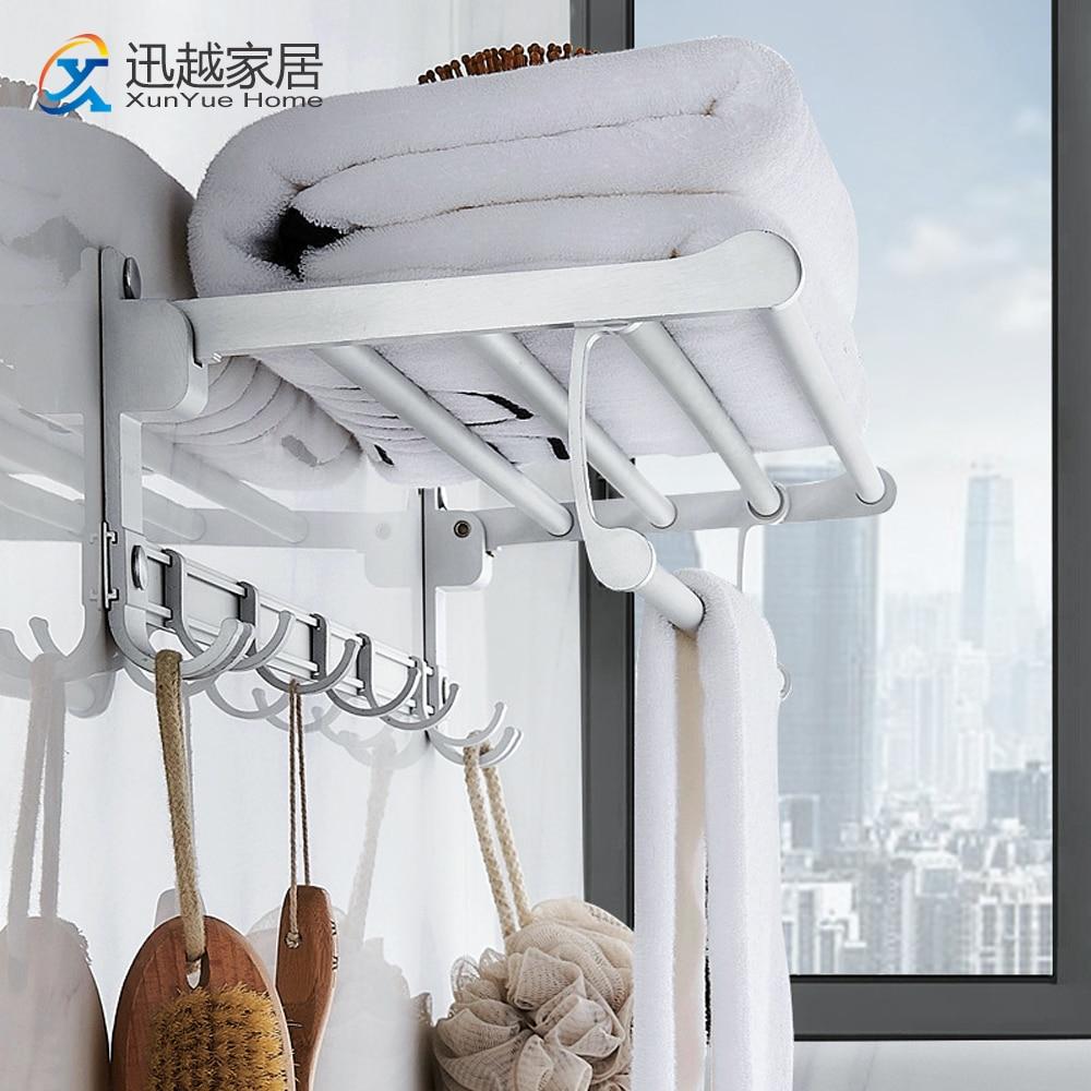 Toalha cabide fixado na parede prateleira do chuveiro matte prata alumínio dobrável titular gancho acessórios do banheiro 00tr0201 rack de armazenamento