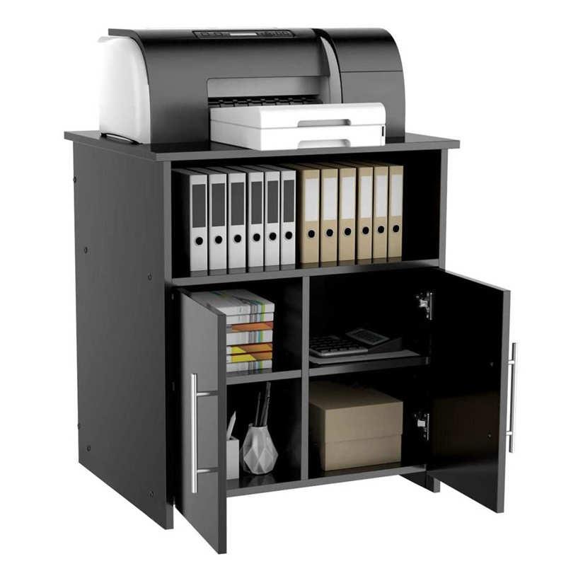 طابعة خِزانة خشبية لحمل التلفاز ألواح حبيبية خشبية التخزين المنظم خزانة مكتب للمنزل مكتب الحمام أسود
