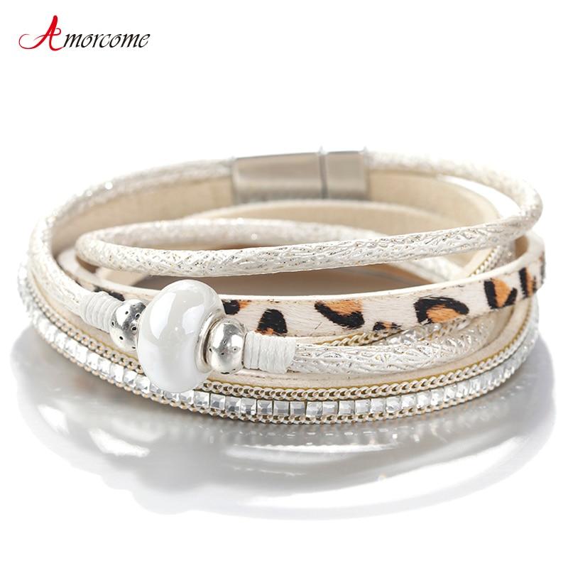 Amorcome, pulseras de cuero de leopardo para mujer, 2019, cuentas de cerámica estilo bohemio para mujer, pulsera envolvente multicapa ancha Bohemia, joyería