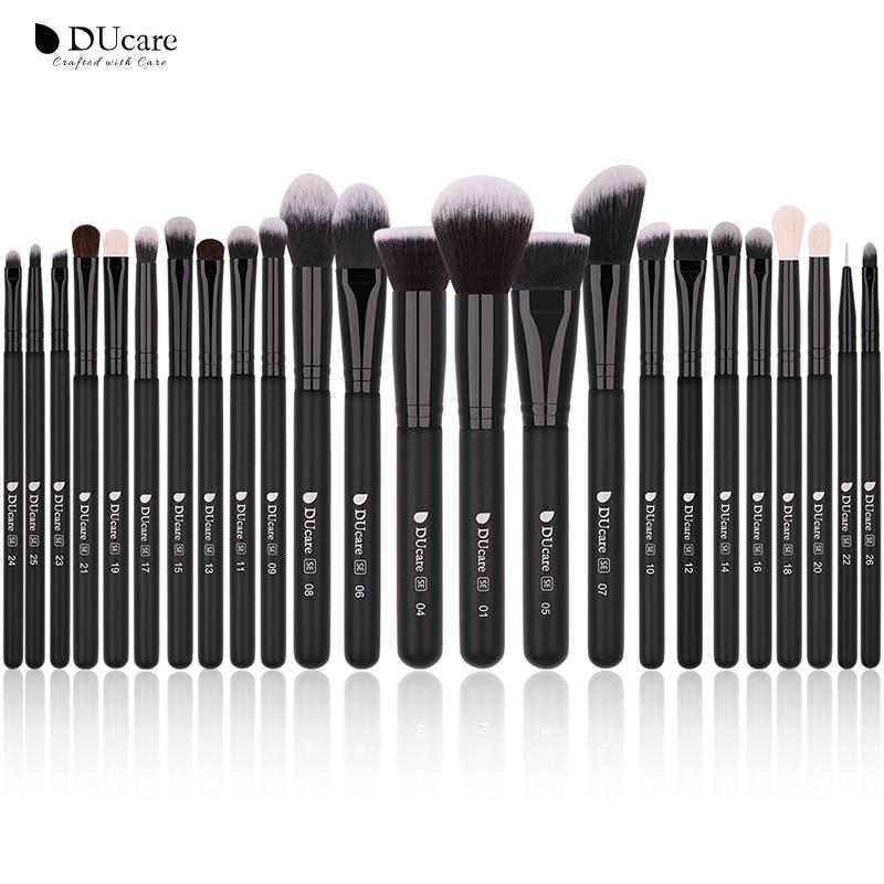 DUcare Black 24pcs Professional Makeup Brushes Set High Quality Make Up Natural goat hair make up brushes