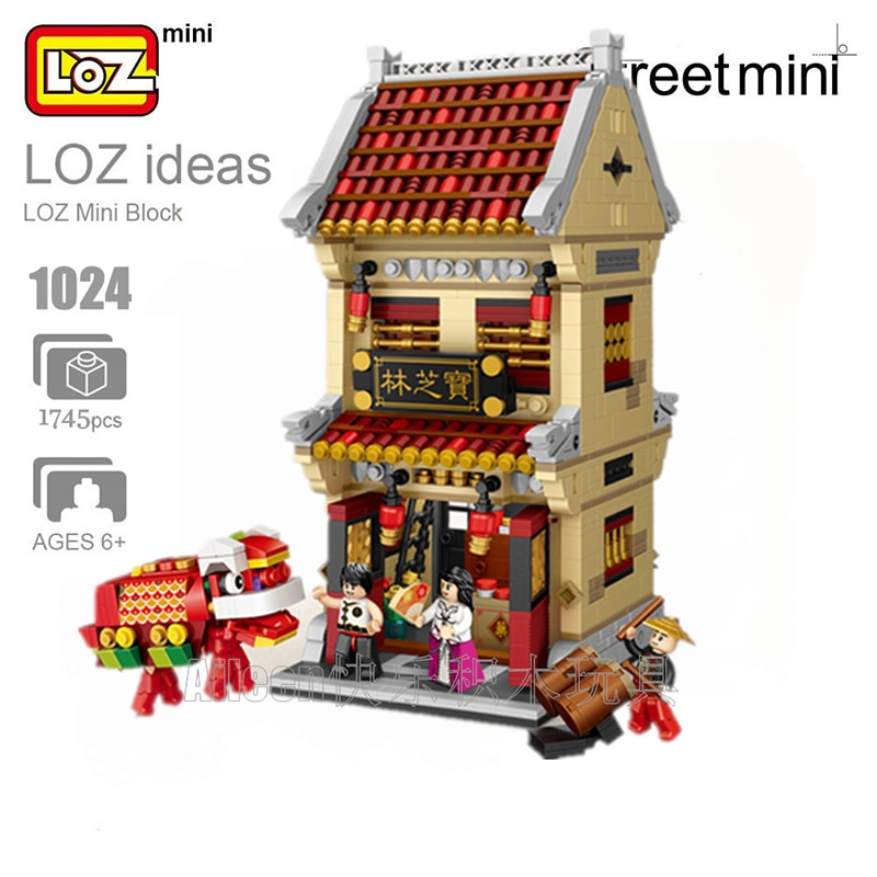 LOZ 1024 ciudad antigua calle Baozhilin Chinatown farmacia tienda 3D modelo DIY Mini bloques de construcción de juguete para niños regalo