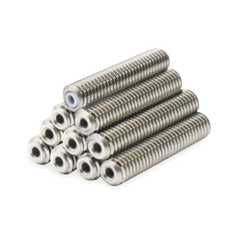 10pcs M6x30 Nozzle teflon Throat White PTFE tube inside for MK8 Anet A8 A2 3D Printer Extruder HotEnd 1.75mm