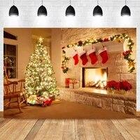 laeacco indoor lighting christmas tree socks fireplace gifts birthday photo photography background backdrop for photo studio