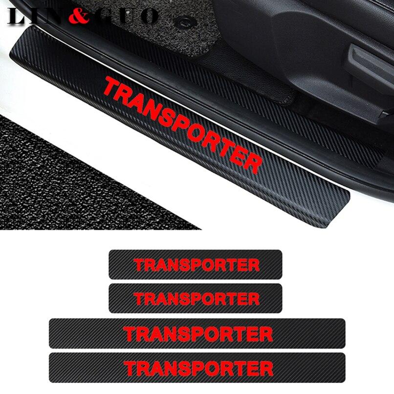 Adhesivo de placa de desgaste de coche de fibra de carbono para puerta de 4 Uds pegatina de vinilo para Volkswagen VW Transporter