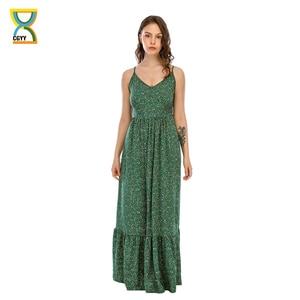 CGYY Plus Size Long Summer Maxi Dresses Ladies 2021 Floral V Neck Beach Sarongs Women Boho Ruched Green Knit Vestidos