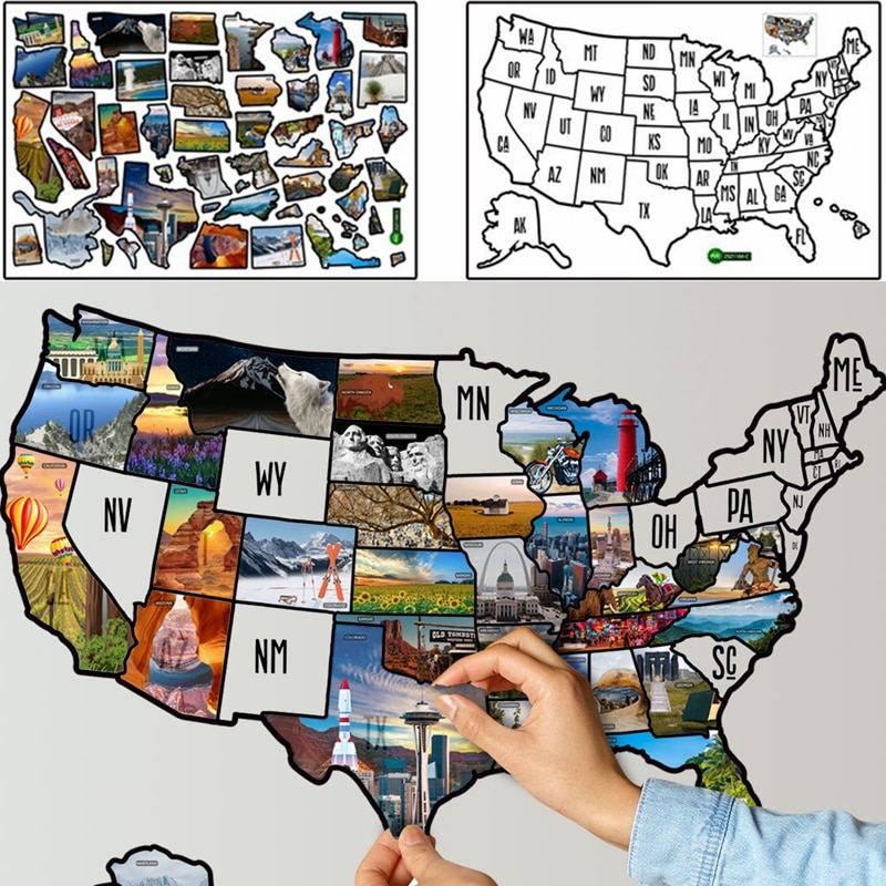 40x60cm United States Puzzle Map Wall Sticker Office Decor Sticker Home Kids Geographical Cognition Teaching Sticker