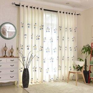 Cartoon Curtain Rainbow Embroidery Blackout Curtain Custom For Living Room Bedroom