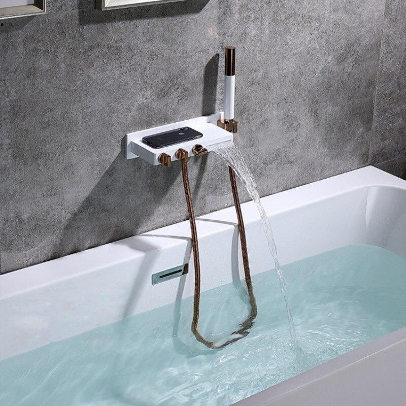 جديد حوض استحمام للاستخدام في الحمام صنبور مجموعة الحائط شلال دش صنبور مجموعة الذهب الأسود/زهرة بيضاء مربع الذهب