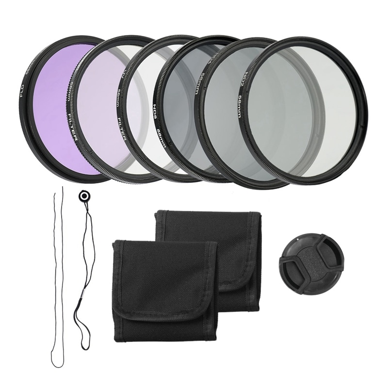 58mm cámara UV CPL FLD Kit de filtros de lente y Altura...
