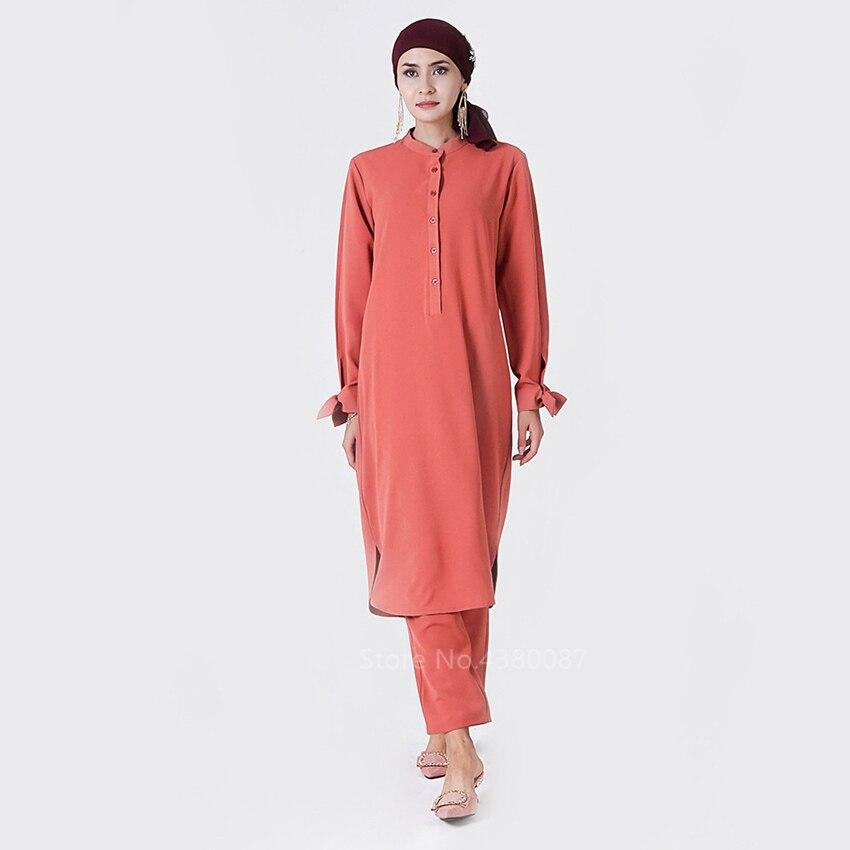Conjunto de Roupa com Calça Roupas Tradicionais Muçulmano Abaya Vestido Feminino Arco Islâmico Elegante Botão Árabe Cores Sólidas –