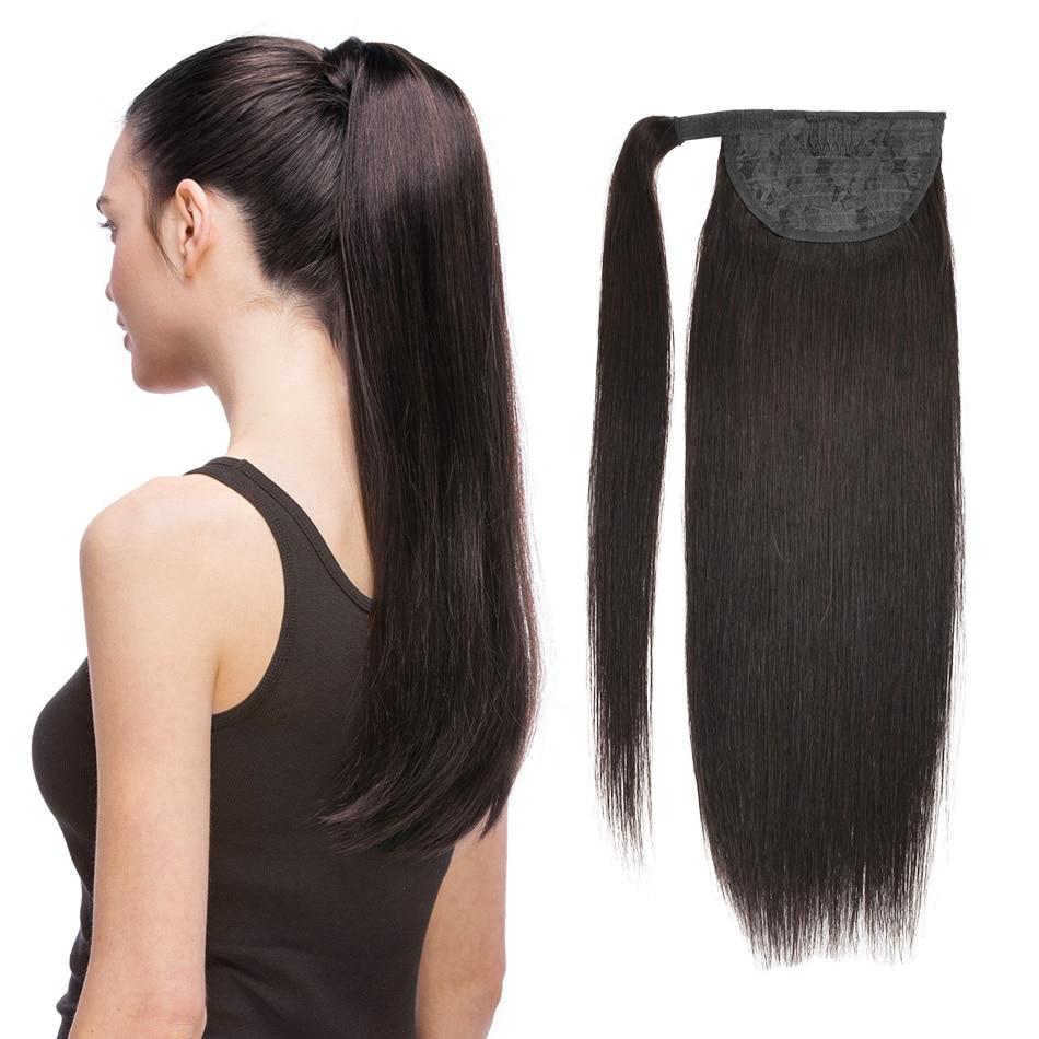 Конский хвост человеческие волосы Remy прямые европейские конский хвост прически 60 г 100 г 100% натуральные волосы на заколках для наращивания BHF