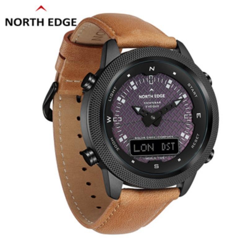 NORTH EDGE Men's Solar Watch Men's Outdoor Sports Watch Full Metal Waterproof 50M Compass Countdown Stopwatch Smart Watch
