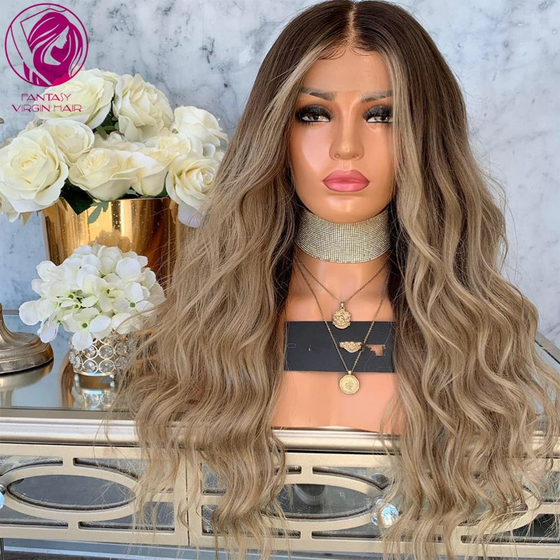 Ash Brown Blonde Balayage Lace Front Wig 13x4/13x6 Human Hair Wigs Loose Curly Remy Hair for Women 26