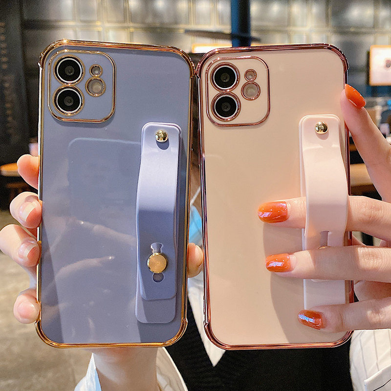 For iPhone 12 Pro Max Wrist Strap Shockproof Bumper Electroplated Phone Case For iPhone 11 Pro Max 12 Mini XR XS Max X 7 8 Plus