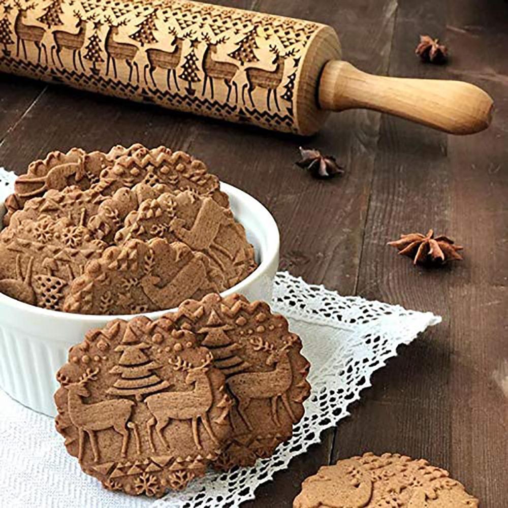 Rodillo de Navidad grabado de madera tallada en relieve rodillo herramienta de cocina 35/43CM grabado para hornear galletas galleta Fondant 40
