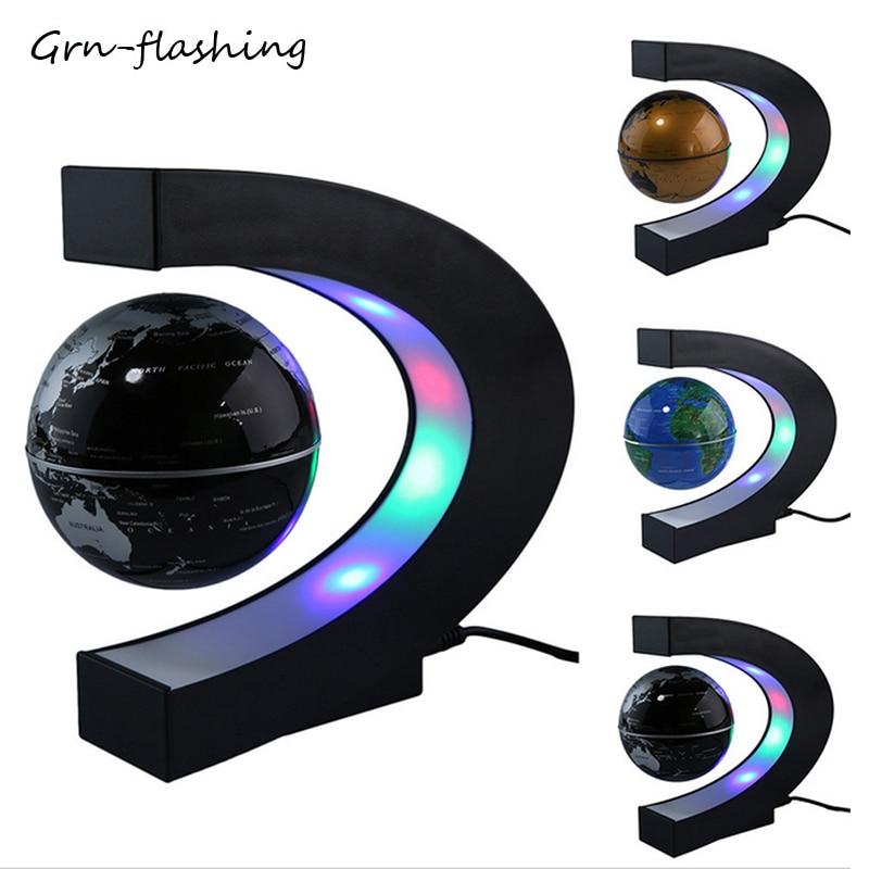 2019 nueva levitación magnética LED globo luz nocturna flotante mundo mapa bola lámpara novedad iluminación para mesa hogar Oficina Decoración