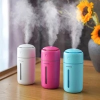 Humidificateur dair USB de 350ml  diffuseur dhuile essentielle et de brume fraiche ultrasonique pour la maison  humidificateur Portable avec veilleuse coloree