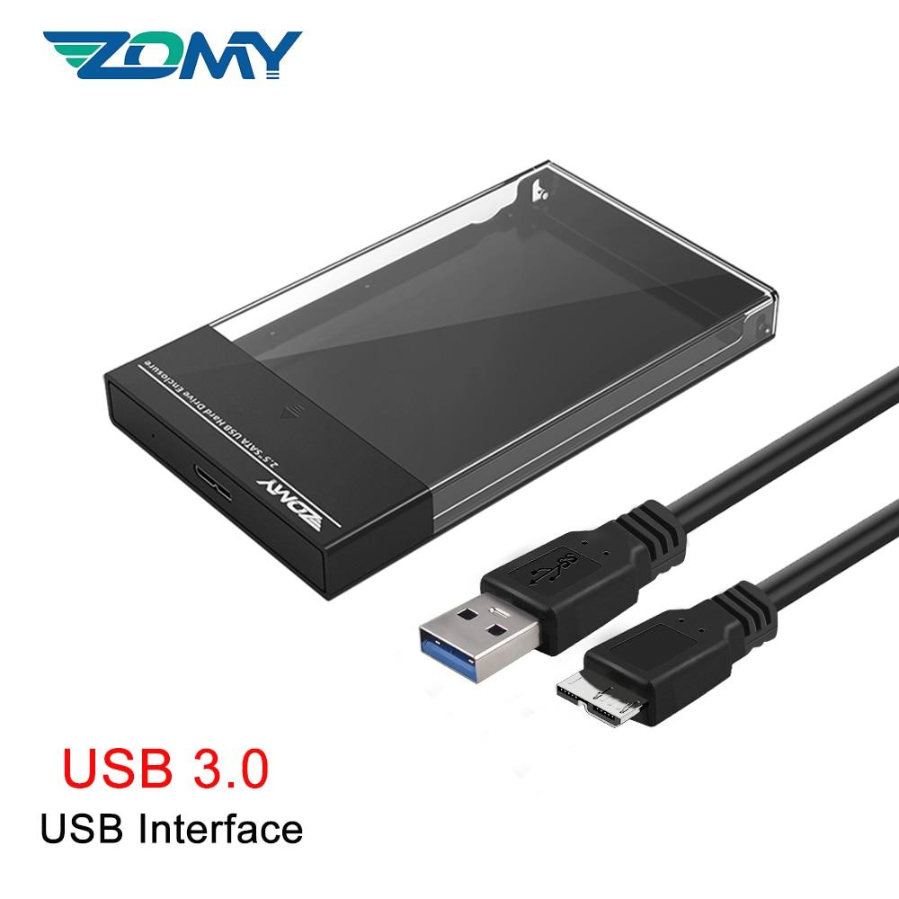 Zomy Black Portable HDD Enclosure 2.5'' SATA to USB 3.1 Transparent External Hard Drive Case Usb3.0 for Laptops Shell SSD Box