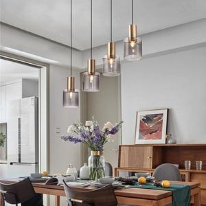 Modern Glass Pendant Lights Bedside Gold Hanging Lamps Fixture Luminaire Kitchen Dining Room Home Decor Suspension Lighting Cafe