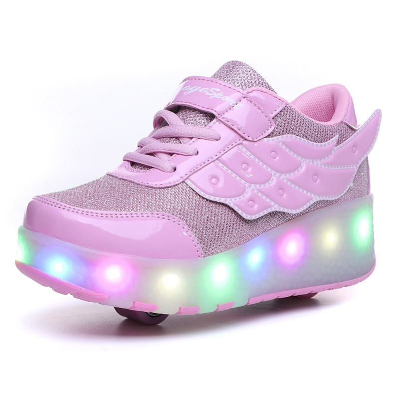 3 Colors Children Single / Double Wheels Glowing Sneakers USB Charging Led Luminous Shoes Boys Girls Roller shoes Good Gifts