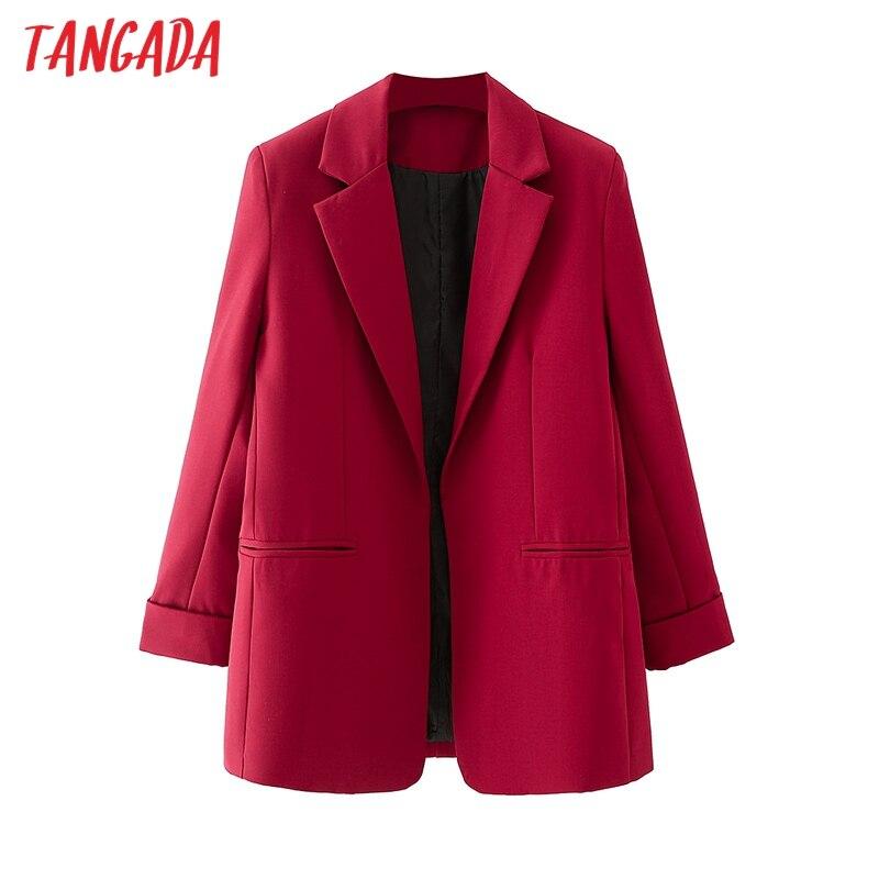 Tangada النساء الصلبة الأحمر السترة معطف خمر حقق طوق جيب 2021 الأزياء الإناث عارضة شيك قمم DA90