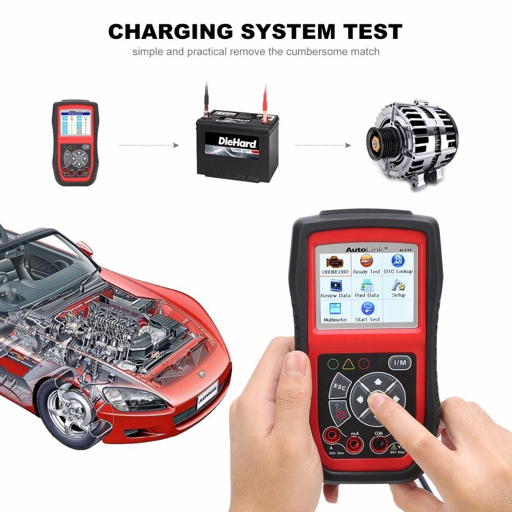 Autel AL539B OBD2 Scanner Code Reader Battery Tester Avometer for 12 Volts Diagnostic Tool Electrical Tester built-in speaker