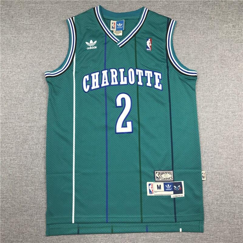 La NBA de los hombres Charlotte Hornets 1 pantalla verde Retro camisetas...