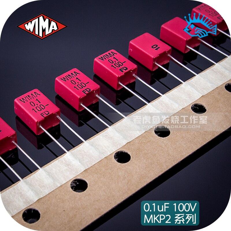 4 шт. Бесплатная доставка 0,1 мкФ 100V MKP2 WIMA аудио безэлектродный пленочный конденсатор 104 100n