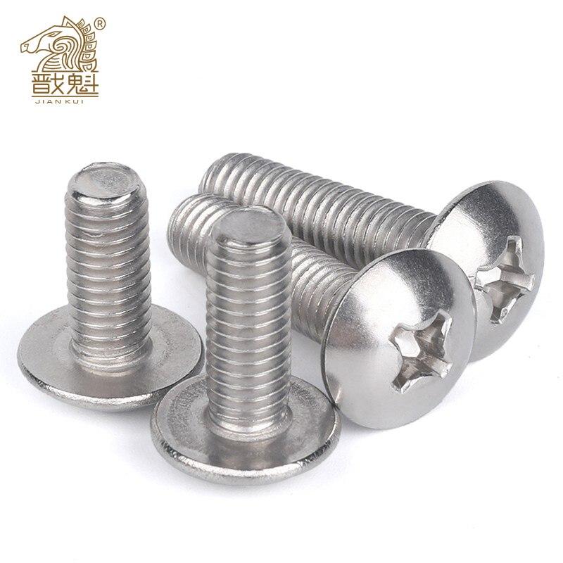 10/50Pcs Parts M2.5 M3 M4 M5 M6 304 A2-70 Stainless Steel JISB1111T Phillips Braguero Flat Head Large Round Cross Bolt L=3-70 Mm