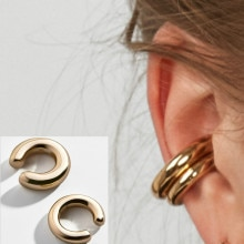 2020 Fashionable and Simple Metal Gold Female Cartilage Clip Ear Round Ear Cuff Beautiful Girl Jewel