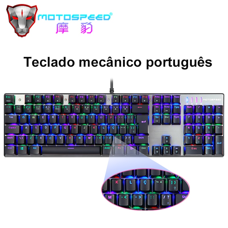 جديد البرتغال/الإنجليزية موتوسبيد RGB لوحة المفاتيح الميكانيكية 104 مفاتيح LED الخلفية USB السلكية الألعاب لوحة المفاتيح للكمبيوتر المحمول ألعاب